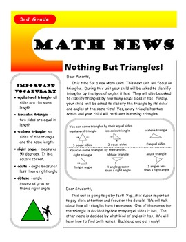 Triangles Letter for Parents