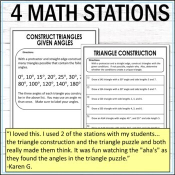Triangles Math Stations  :  Middle School Math Stations