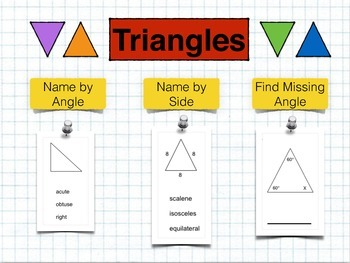 Triangles: Name by Side and Angle; Find Missing Angle