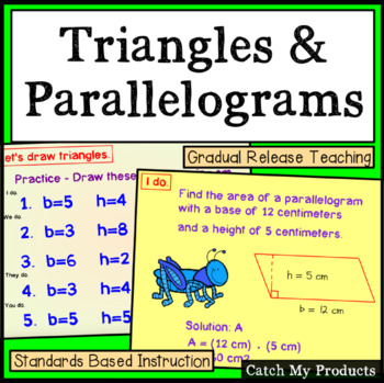Area of Triangles and Area of Polygons - Parallelograms Power Point