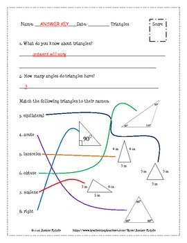 Triangles Pre and Post Test (Common Core Aligned) **WITH ANSWERS**