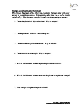 Triangles/Quadrilaterals Worksheet