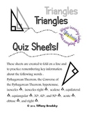 Triangles Quiz Sheet for High School and Adult Ed. Geometry Students