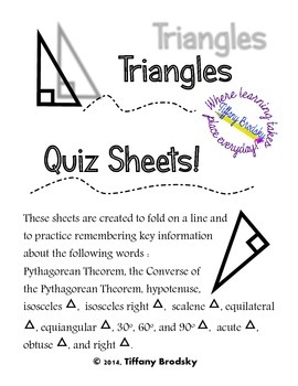 Triangles Quiz Sheet for High School and Adult Ed. Geometr