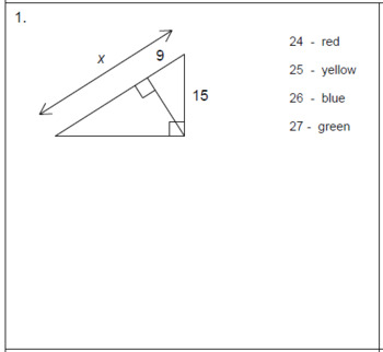 Triangles - Similarity in Right Triangles Coloring Activity