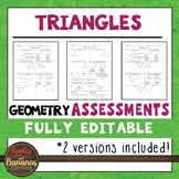 Triangles Tests - Geometry Editable Assessments
