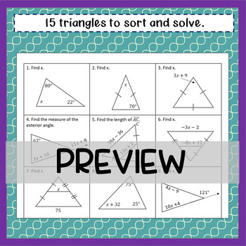 Triangles- Theorem Sort and Solve