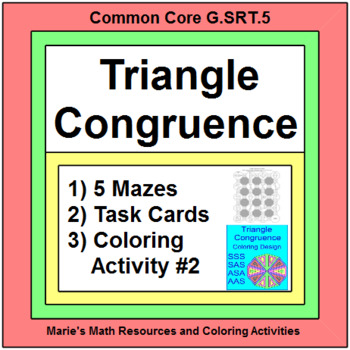 Triangles - Triangle Congruence 5 MAZES - SSS,ASA,etc, 20 TASK Cards, TOOL KIT