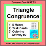 TRIANGLES:  CONGRUENT TRIANGLES 5 MAZES - SSS,ASA,etc, 20