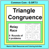TRIANGLES: CONGRUENT TRIANGLES RELAY RACE Game (8 rounds o