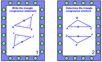 Triangles - Triangle Congruence TASK Cards (20 cards) & SCAVENGER HUNT (20cards)