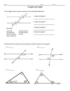 Triangles and Angles Quiz