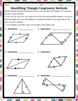 Triangles And Congruency Method Practice Freebie By Secondary Math Shop