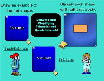 Triangles and Quadrilaterals - Drawing and Classifiying - Interactive Smartboard