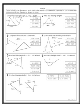 Triangles and Similarity Geometry EASTER Coloring Activity
