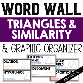 Triangles and Similarity Vocabulary Word Wall and Graphic Organizer