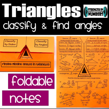 Triangles (classifying, finding angles) Foldable Notes Interactive Notebook
