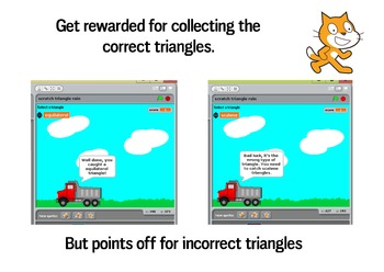 Triangles (equilateral, right angle, isoceles, scalene) - Scratch game