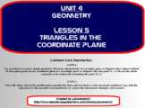 Triangles in the Coordinate Plane (Math 1)