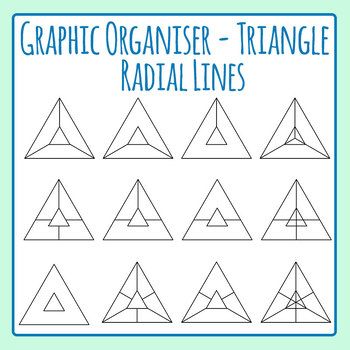 Triangular Graphic Organisers - Radial Triangles Clip Art Set for Commercial Use