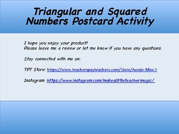 Triangular and Square Numbers Postcard Activity