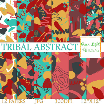 Tribal Abstract Digital Papers / Bold Geometric Patterns Backgrounds