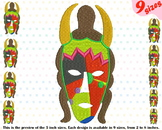Tribal African Mask Embroidery Design props Africa Totem Carnival 213b