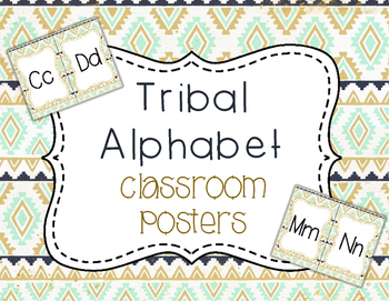 Tribal Alphabet-Classroom Posters - MINT NAVY GOLD