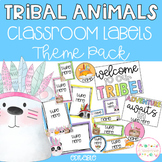 Tribal Animals Classroom Theme Pack - Editable Name Tags, Labels and Posters