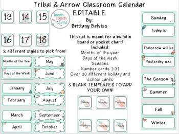 Tribal & Arrow Calendar Set EDITABLE