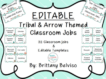 Tribal & Arrow Classroom Jobs EDITABLE!!!