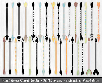 Tribal Arrow Clip Art Bundle, 32 Native American Arrows and Silhouettes