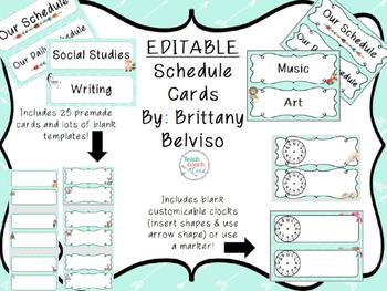 Tribal & Arrow Schedule Cards- EDITABLE!