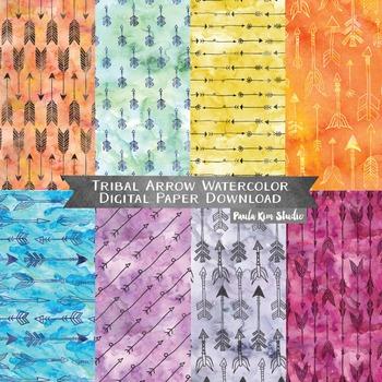 Tribal Arrow Watercolor Digital Paper