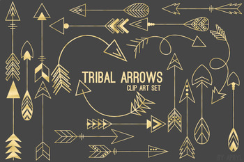 Tribal Arrows in Gold Black and White PNG Clip Art for Commercial Use