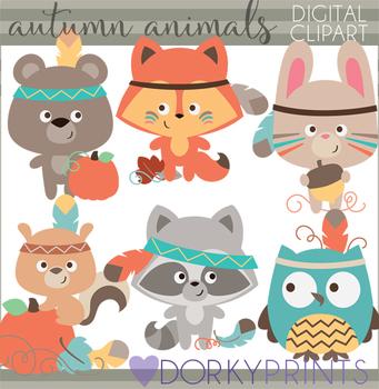 Tribal Autumn Animals Clipart