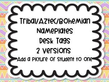 Tribal Aztec Bohemian Modern Nameplates Name Plates Tags Desk