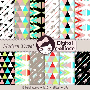 Tribal Background Digital Paper, Arrows and Triangles