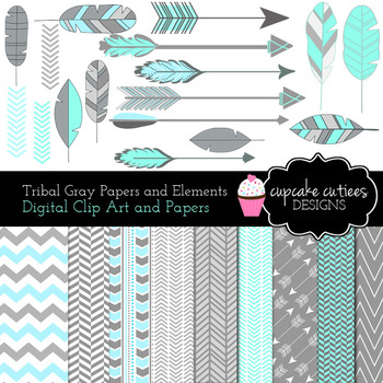 Tribal Blue and Gray Digital Clip Art and Paper Pack