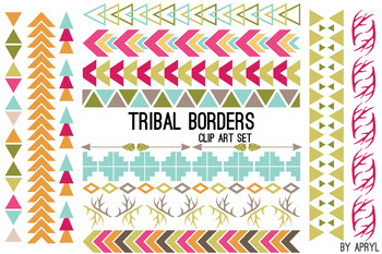 Tribal Borders Brights PNG Clip Art for Commercial Projects