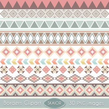 Tribal Borders Clipart Ribbons Clip Art Aztec Native American Ethnic Digital