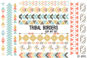 Tribal Borders Pastel PNG Clip Art for Commercial Projects