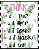Growth Mindset Cactus Motivational Classroom Posters