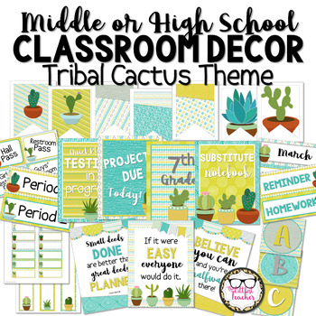 Tribal Cactus Succulent Theme Middle or High School Classroom Decor Set