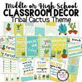 Tribal Cactus Succulent Theme Middle or High School Classroom Decor Set