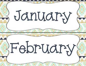Tribal Calendar Month Headers - MINT NAVY GOLD