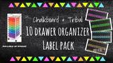 Tribal Chalkboard 10 drawer Organizer Labels (Pink, Orange, Yellow, Green, Blue)