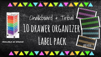 Tribal Chalkboard 10 drawer Organizer Labels (Pink, Orange