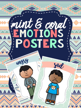 Mint & Coral Emotions Posters