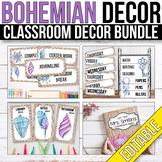 Tribal Classroom Decor Bundle EDITABLE, Boho Classroom Theme